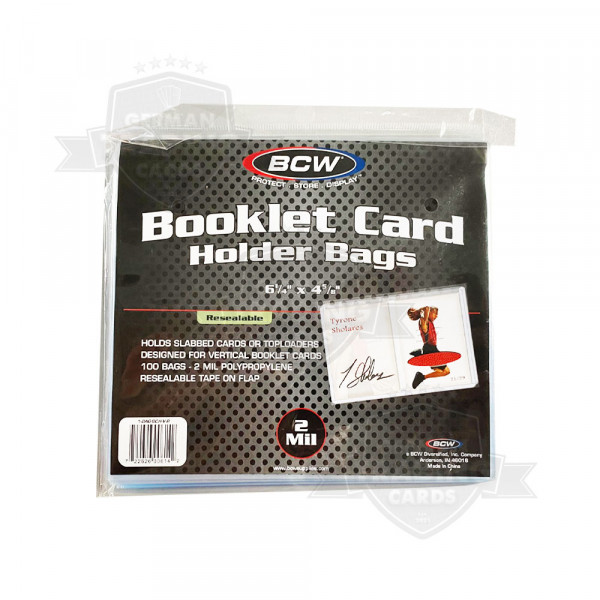 BCW Booklet Card Holder Bags Resealable Vertical