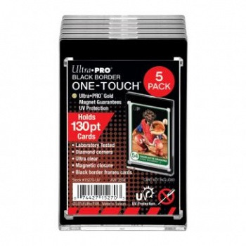 UP One Touch Card Holder 130pt BLACK BORDER (5-Pack)